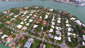 Aerial La Gorce Island Miami stock video