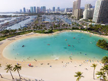 Aerial of Lagoon on the island of Oahu in Honolulu, Hawaii Stock Photo