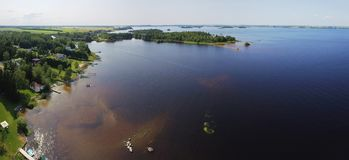 Aerial of lakeshore royalty free stock photo