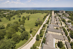 Aerial of Lakeshore Development with homes and condos Royalty Free Stock Photo