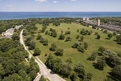 Aerial of Lakeshore Development with homes and condos Royalty Free Stock Images