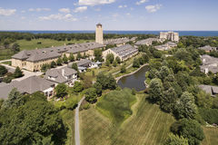 Aerial of Lakeshore Development with Pond Royalty Free Stock Images