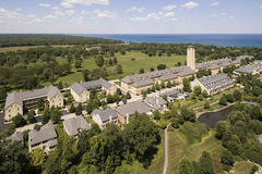 Aerial of Lakeshore Development with Tower Royalty Free Stock Photo