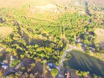 Scenic aerial view of green suburban area of Ozark, Arkansas, US. Aerial lakeside suburban area of Ozark, Arkansas, USA. Scenic view mountain residential Stock Photos