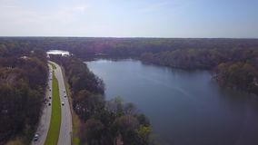 Aerial lakeside view. At sunrise in the piedmont stock video footage
