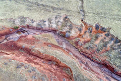 Aerial landscape abstract of Colorado foothills. With a dry stream canyon royalty free stock photography
