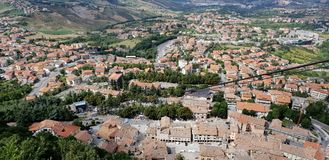 Aerial landscape Amazing view. Aerial view on roof, mountains and plans in italian territory royalty free stock photo