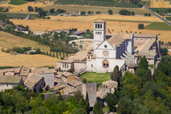 Aerial Landscape of Assisi, Umbria, Italy. Aerial landscape of Assisi, medieval village at Umbria, including the Cathedral of Saint Francis, Italy Stock Image