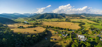 Aerial landscape of Australian countryside at sunset. Royalty Free Stock Images