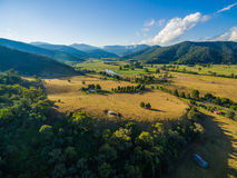 Aerial landscape of Australian countryside at sunset. Stock Images