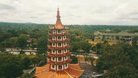 Aerial landscape of Avalokitesvara pagoda stock footage