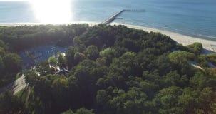 Aerial landscape, Baltic sea coast, Palanga Bridge, Lithuania stock footage