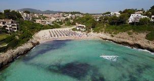 Aerial landscape of the beautiful bay of Cala Mandia. With a wonderful turquoise sea, Porto Cristo, Majorca, Spain stock video footage