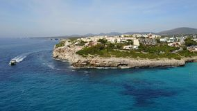 Aerial landscape of the beautiful bay of Cala Mandia with a wonderful turquoise sea. Porto Cristo, Majorca, Spain stock video footage