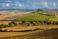 Aerial landscape of beautiful countryside valley, Tuscany Stock Image