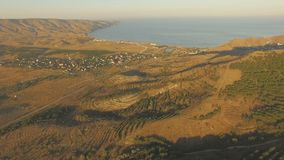 Aerial landscape in Crimea stock footage