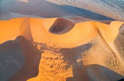 Aerial landscape of dunes and surrounding Sossusvlei Namibia. Aerial landscape from tourist helicopter flight over dunes and surrounding Sossusvlei Namibia Stock Photos