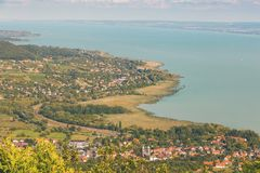 Aerial landscape fro a lake Balaton in Hungary.  royalty free stock images