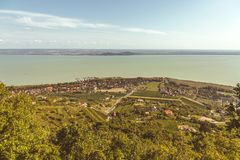 Aerial landscape fro a lake Balaton in Hungary.  royalty free stock photo