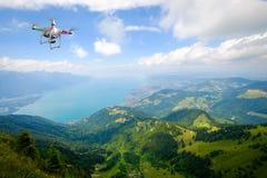 Aerial landscape of Geneva lake stock image