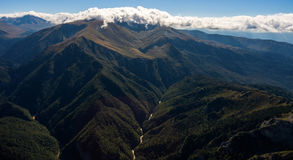 Aerial landscape of grand mountain valley with a river. Stock Photo