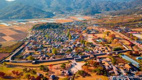 Aerial landscape of hanok village in Jeonju, South Korea. stock photography