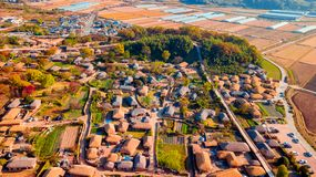 Aerial landscape of hanok village in Jeonju, South Korea. royalty free stock photos