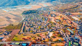 Aerial landscape of hanok village in Jeonju, South Korea. stock photos