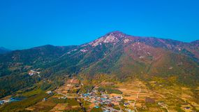 Aerial landscape of hanok village in Jeonju, South Korea. royalty free stock images