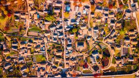 Aerial landscape of hanok village in Jeonju, South Korea. royalty free stock photography