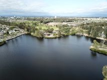 Aerial landscape of Huntington Beach Central Park in Orange County California. Showing a lake Royalty Free Stock Photos