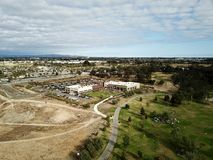 Aerial landscape of Huntington Beach Central Park in Orange County California. Showing mountains and the Huntington Beach senior center Royalty Free Stock Image