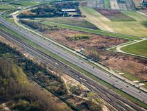 Aerial landscape include road and railway. Going faraway new destinations with airway or railway or highway royalty free stock photos