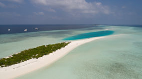Aerial landscape of island in Indian ocean, Maldives Royalty Free Stock Photography