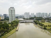 Aerial Landscape of Kallang River and buildings Royalty Free Stock Photos