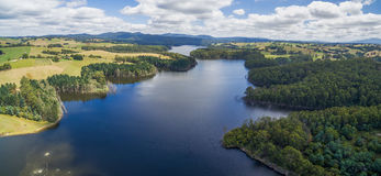 Aerial landscape of lake in Australian countryside. Stock Images
