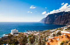 Aerial landscape of Los Gigantes resort city Royalty Free Stock Images