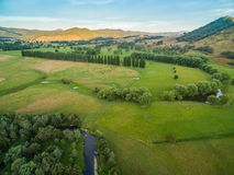 Aerial landscape of meadows and pastures of Mitta Mitta Valley n Royalty Free Stock Images