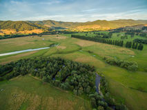 Aerial landscape of meadows and pastures of Mitta Mitta Valley n Stock Photography