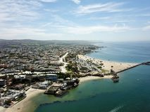 Aerial landscape of Newport Beach, Orange County, Southern California. Showing the beach, coastline and homes Royalty Free Stock Photography
