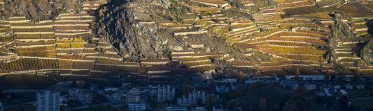 Aerial landscape of the north side of the Rhone River, showing v royalty free stock photos