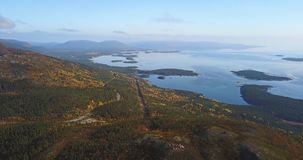 Aerial Landscape of a Nothern Autumn Nature. Kola Peninsula in Russia near the Kandalaksha town Stock Image