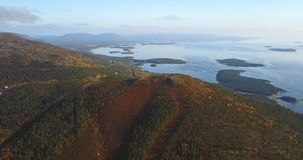 Aerial Landscape of a Nothern Autumn Nature. Kola Peninsula in Russia near the Kandalaksha town Royalty Free Stock Photo