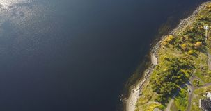 Aerial Landscape of a Nothern Autumn Nature. Kola Peninsula in Russia near the Kandalaksha town stock photo