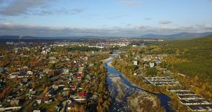 Aerial Landscape of a Nothern Autumn Nature. Kola Peninsula in Russia near the Kandalaksha town royalty free stock image