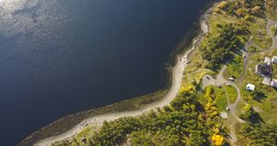 Aerial Landscape of a Nothern Autumn Nature. Kola Peninsula in Russia near the Kandalaksha town royalty free stock photography