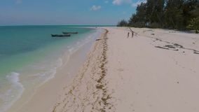 Aerial landscape of Punta Sebaring endless white sand beach and palm trees surrounded by turquoise water. Coral reefs in Bugsuk Island in Balabac, Palawan stock footage