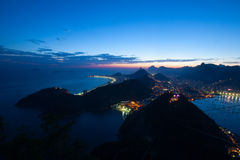 Aerial landscape of Rio de Janeiro at sunset, Brazil. Rio de janeiro view from the Sugar Loaf at sunset Stock Photography