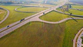 Aerial landscape road junction sign. Interchange highway road stock footage