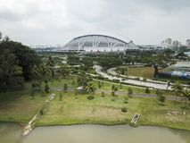 Aerial Landscape of the Singapore Sports Hub Royalty Free Stock Photos